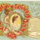 Cherub with a framed picture of a woman vintage Valentine's Day postcard