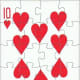 10 of hearts free clipart with puzzle effect