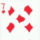 7 of diamonds with stretched effect