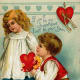 Cute kids: little boy and girl vintage Valentine card