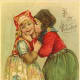 Cute kids: little boy and girl kissing on Valentine card