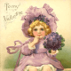 Cute kids: Little girl in purple on a vintage Valentine card