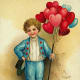 Cute kids: little boy with red heart balloons on vintage Valentine card