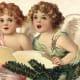 Two vintage Christmas angels singing