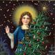 Vintage angel with halo and Christmas tree