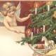 Vintage angel Christmas card: Christmas tree