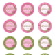 Free circle printable pink and green birthday cupcake toppers