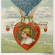 Victorian valentine card with heart hot air balloon