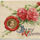 "Vintage portrait with red and pink carnations Valentine's Day card ""Be My Valentine"""