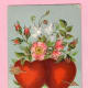 Free Victorian valentine card with two red hearts, doves and flowers