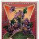 Green basket with purple chrysanthemums free vintage valentine card