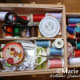 I also have a traditional wooden sewing box that holds all my threads and sewing equipment.