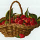 Vintage fruit clipart: a basket of strawberries