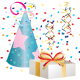 Blue birthday hat and present clipart