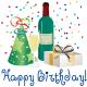 Birthday hat, wine, wine bottle  and present clipart