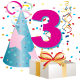 3 year old birthday clipart
