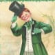 """St. Patrick's Day cards: Irish lad in green coat with black top hat """"The Top 'o the Mornin' to You"""""""