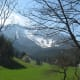 Pristine meadows below snow-capped mountains. Schneeberg in spring.
