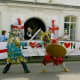 Saint George and the Turk fighting in a mummers play performed by the Waterley Bottom Mummers at Wotton-under-Edge, England, for St. George's Day.