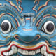 Blue monster dragon face paint design pattern, from ancient mask design.