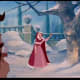 This shows the length of her red cape. It goes all the way down to her feet, so make it the same length as her dress. White fur trim around bottom edges and the hood. No sleeves on the cape, although there is a separate poncho-like section.
