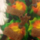 Tie dyed cupcakes with Scooby rings and Scooby graham crackers.