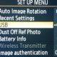 From the Set Up Menu, choose USB