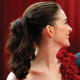 anne hathaway formal ponytail hairstyle