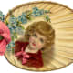 Fan with little boy and blue forget-me-nots flowers and pink bow