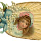 Fan with little girl and white flowers and blue bow
