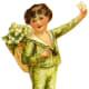 Victorian little boy in green suit with flower basket