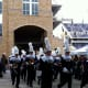 TCU Band circles the inside of the stadium before the pregame show