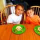 My boys enjoying their alien themed lunch.