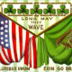 """Irish flag and American flag overlapping with shamrocks in the background """"Erin Go Bragh"""" and E Pluribus Unum"""""""