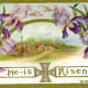 """Purple flowers, country scene and cross """"He is Risen"""""""