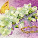 Crown of thorns with butterfly and flowers vintage religious Easter card