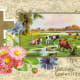 Cross with country scene, flowers vintage religious Easter card