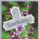 Cross with purple flowers Christian cards
