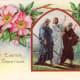 Jesus walking with disciples vintage Easter card