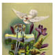 White dove with cross and flowers free Easter card