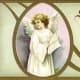 Angel holding scripture vintage Easter card