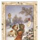 Free vintage dog Christmas card with three dogs singing in the snow