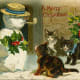Vintage animal holiday card -- cats with snowman