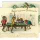 Free vintage animal holiday card -- monkeys playing pool with frogs watching