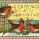 Free vintage animal holiday card -- red birds