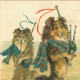 Vintage dog Christmas card with two dogs playing bagpipes