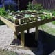 Decking sides support plants on raised bed