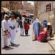 Female Yemeni sellers wearing the Sana'ani Sitarah in a local market of Sana'a city