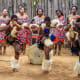 Zwazi men and women wearing traditional clothes