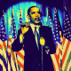 Barack Obama clip art -- speaking in front of bank of American flags